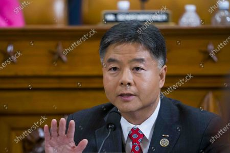 United States Representative Ted Lieu (Democrat of California) questions during the House impeachment inquiry hearings.
