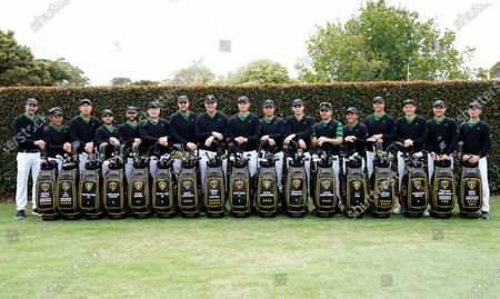 (left to right) Assistant Captain Geoff Ogilvy of Australia, Assistant Captain K.J. Choi of South Korea, Byeong-Hun An of South Korea, Abraham Ancer of Mexico, Adam Hadwin of Canada, Im Sung-jae of South Korea, Marc Leishman of Australia, Captain Ernie Els of South Africa, Haotong Li of China, Hideki Matsuyama of Japan, Joaquin Niemann of Chile, Louis Oosthuizen of South Africa, C.T. Pan of Taiwan, Adam Scott of Australia, Cameron Smith of Australia, Assistant Captain Trevor Immelman of South Africa and Assistant Captain Mike Weir of Canada pose for the International team photo ahead of the 2019 Presidents Cup golf competition at the Royal Melbourne Golf Club in Melbourne, Australia, 11 December 2019.