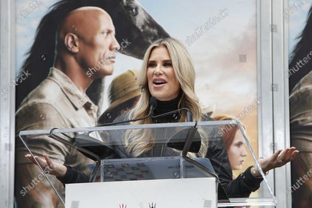 US Radio DJ Ellen K speaks during a hand print ceremony for Kevin Hart at the TCL Chinese Theatre IMAX in Hollywood, Los Angeles, California, USA, 10 December 2019.