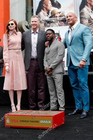 Karen Gillan, Will Ferrell, Kevin Hart and Dwayne Johnson pose during a hand print ceremony for Kevin Hart at the TCL Chinese Theatre IMAX in Hollywood, Los Angeles, California, USA, 10 December 2019.