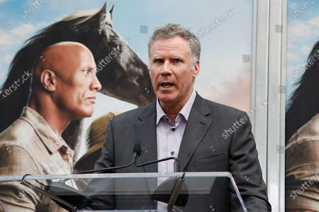 Will Ferrell speaks during a hand print ceremony for Kevin Hart at the TCL Chinese Theatre IMAX in Hollywood, Los Angeles, California, USA, 10 December 2019.