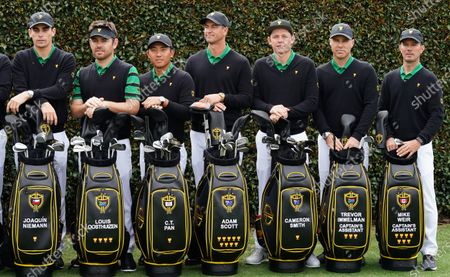 (L-R) Joaquin Niemann of Chile, Louis Oosthuizen of South Africa, C.T. Pan of Taiwan, Adam Scott of Australia, Cameron Smith of Australia, Assistant Captain Trevor Immelman of South Africa and Assistant Captain Mike Weir of Canada pose for the International team photo ahead of the 2019 Presidents Cup golf competition at the Royal Melbourne Golf Club in Melbourne, Australia, 11 December 2019. The tournament will take place from 12 to 15 December.