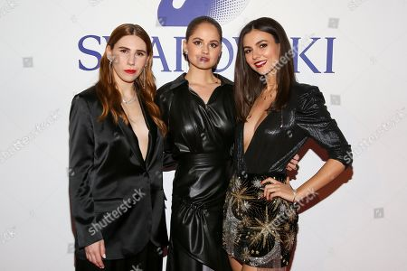 Zosia Mamet, Debby Ryan, Victoria Justice. Zosia Mamet, from left, Debby Ryan and Victoria Justice attend Swarovski's Naughty or Nice collection launch holiday celebration at 393