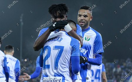 Oscar Rodriguez of Leganes celebrates his second goal of the match with Chidozie Awaziem of Leganes