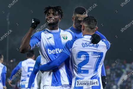 Oscar Rodriguez of Leganes celebrates his second goal of the match with Youssef En-Nesyri of Leganes and Chidozie Awaziem of Leganes