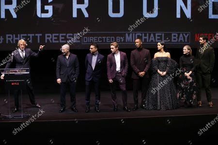 Michael Bay (Director), Lior Raz, Payman Maadi, Ben Hardy, Corey Hawkins, Adria Arjona, Melanie Laurent and Manuel Garcia-Rulfo