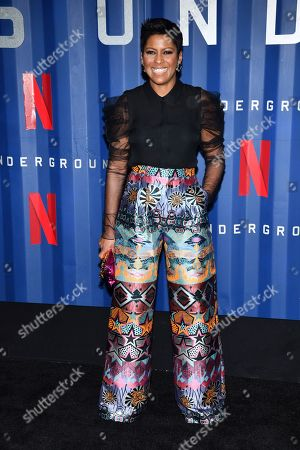 """Tamron Hall attends the premiere of Netflix's """"6 Underground"""" at The Shed at Hudson Yards, in New York"""