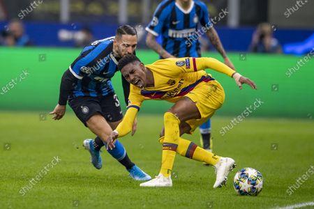 Stock Photo of Danilo D Ambrosio (Inter) Junior Firpo (FC Barcelona)