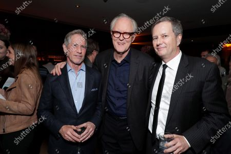 Stock Photo of Jon Feltheimer, Chief Executive Officer of Lionsgate, John Lithgow and Michael Burns, Vice Chairman of Lionsgate, attend the Los Angeles Special Screening of Lionsgate's BOMBSHELL at the Regency Village Theatre in Los Angeles, CA on December 10, 2019.