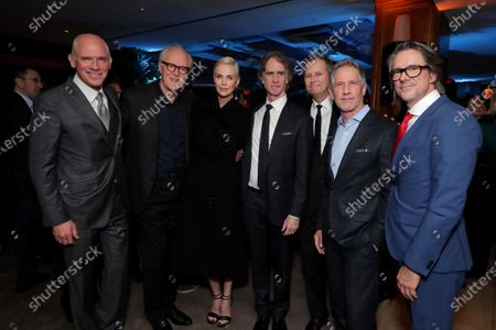 Joe Drake, Co-Chairman of Lionsgate Motion Picture Group, John Lithgow, Charlize Theron, Producer/Actress, Jay Roach, Director/Producer, Michael Burns, Vice Chairman of Lionsgate, Jon Feltheimer, Chief Executive Officer of Lionsgate, and Charles Randolph, Writer/Producer, attend the Los Angeles Special Screening of Lionsgate's BOMBSHELL at the Regency Village Theatre in Los Angeles, CA on December 10, 2019.