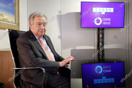 UN Secretary General Antonio Guterres poses for the photographer during an interview granted in the framework of the COP25 UN Climate Change Conference in Madrid, Spain, 11 December 2019. Guterres said that 'It is not too late to make a very relevant COP25 Conference'. The summit runs in the Spanish capital until next 13 December.