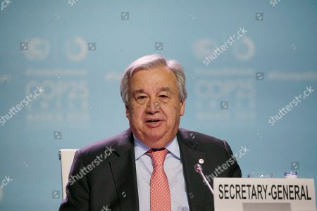 Antonio Guterres, Secretary-General of the United Nations delivers a speech during a Global Climate Plenary event at the COP25 climate talks congress in Madrid, Spain