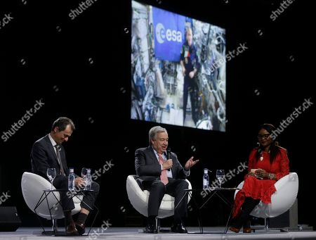 Antonio Guterres, Secretary-General of the United Nations, centre speaks alongside Innovation Minister Pedro Duque via a video link-up with Italian astronaut Luca Parmitano from the International space station during a Global Climate Plenary Event at the COP25 climate talks congress in Madrid, Spain