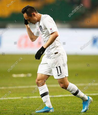 Moon Seon-min of South Korea reacts during the EAFF E-1 Football Championship men's match between South Korea and Hong Kong at the Busan Asiad Main Stadium in Busan, South Korea, 11 December 2019.