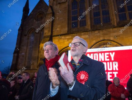 Labour Party leader Jeremy Corbyn (R) and Scottish Labour leader Richard Leonard (L) on the campaign trail in Govan, Glasgow, Britain, 11 December 2019, the final day of the election campaign before the United Kingdom goes to the polls in general elections December 12.