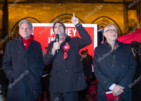 Local candidate Matt Kerr (C) with Labour Party leader Jeremy Corbyn (R) and Scottish Labour leader Richard Leonard (L) on the campaign trail in Govan, Glasgow, Britain, 11 December 2019, the final day of the election campaign before the United Kingdom goes to the polls in general elections December 12.