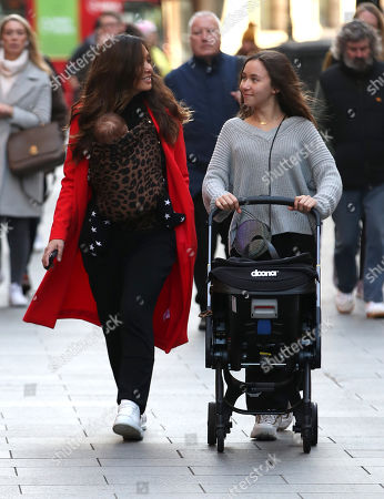 Stock Picture of Myleene Klass, Ava Bailey Quinn and baby Apollo at Global House