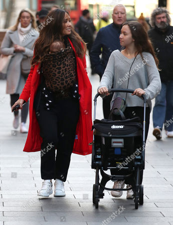 Myleene Klass, Ava Bailey Quinn and baby Apollo at Global House