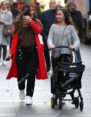 Myleene Klass, Ava Bailey Quinn and baby Apollo at Global House