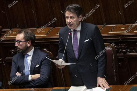 Stock Image of Italian Minister of Justice Alfonso Bonafede Giuseppe Conte