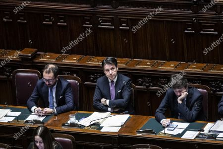 Stock Picture of Italian Minister of Justice Alfonso Bonafede Giuseppe Conte, Italian Minister of Cultural Heritage Dario Franceschini