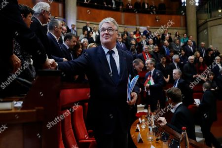 Stock Image of French High Commissioner for Pension Reform Jean-Paul Delevoye arrives before French Prime Minister Edouard Philippe delivers his speech in Paris to unveil proposals on pension reforms that might calm tensions on the seventh straight day of a crippling transport strike