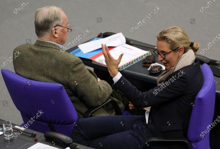 Alternative for Germany (AfD) right-wing populist party faction co-chairwoman in the German parliament Bundestag Alice Weidel (R) and co-chairman Alexander Gauland attend a session of the German parliament 'Bundestag' in Berlin, Germany, 11 December 2019. The plenary dealt, among other issues, with a new draft on tax exemption on company pensions and measures against old-age poverty.