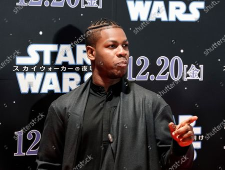 John Boyega poses at an event promoting Star Wars: The Rise of Skywalker' in Tokyo, Japan, 11 December 2019. The film will be released in Japan on 20 December 2019.