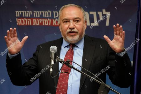 Israeli leader of the Yisrael Beiteinu right-wing nationalist party Avigdor Liberman, speaks during a news conference at the Knesset, Israel's parliament in Jerusalem, . The Israeli parliament began voting to dissolve itself on Wednesday and pave the path to an unprecedented third election within a year. The preliminary vote passed without objections. Barring a nearly unfathomable about-face, three more measures are expected to pass and call a new election for March 2,2020