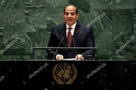 """Abdel Fattah Al Sisi. Egypt's President Abdel Fattah el-Sisi addresses the 74th session of the United Nations General Assembly. Egypt's president has called for """"decisive"""" and """"collective"""" action against countries supporting terrorism."""" His comments are an apparent reference to Turkey and Qatar, who back the Muslim Brotherhood group, which is outlawed by the Egyptian government. Addressing a two-day forum on peace in Africa in the southern city of Aswan, Abdel-Fattah el-Sissi says achieving sustainable development in Africa is needed, along with efforts to fight militant groups"""
