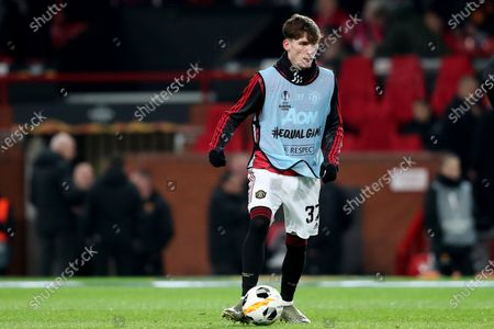 James Garner of Manchester United during the pre-match warm-up
