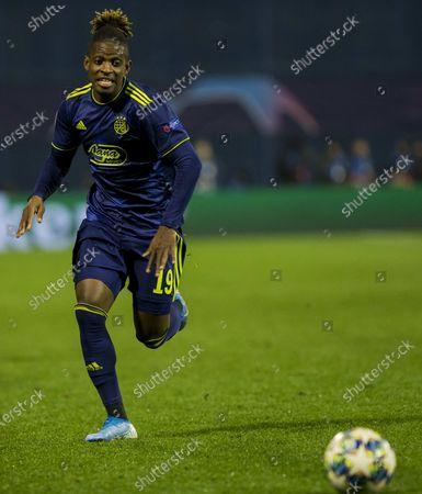 Stock Photo of Francois Moubandje of Dinamo Zagreb comes forward on the ball