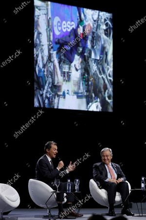 Acting Spanish Science Minister, Pedro Duque (L) and UN Secretary General, Antonio Guterres (R), participates in a live connection with Luca Parmitano International Space Station, in the framework of COP25 UN Climate Change Conference in Madrid, Spain, 11 December 2019. The summit runs in the Spanish capital until 13 December 2019.