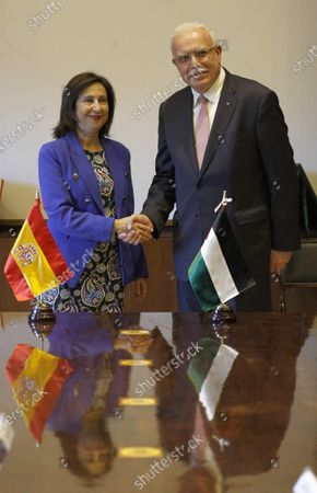 Spanish acting Foreign Minister and Defense Minister, Margarita Robles (L) meets Palestinian Foreign Minister Riad Malki (R), in Madrid, Spain, 11 December 2019.