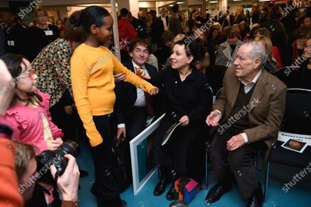 Olga Tokarczuk, Nobel Laureate in Literature 2018, meets children at suburb Rinkeby Library north Stockholm, Sweden, 11 December 2019.