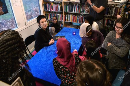Olga Tokarczuk meets children at Rinkeby Library in a suburb of northern Stockholm.