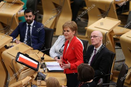 Scottish Parliament First Minister's Questions - Humza Yousaf, Cabinet Secretary for Justice, Nicola Sturgeon, First Minister of Scotland and Leader of the Scottish National Party (SNP), and John Swinney, Deputy First Minister and Cabinet Secretary for Education and Skills
