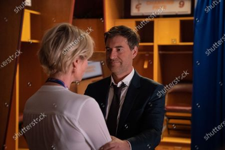Charlize Theron as Megyn Kelly and Mark Duplass as Douglas Brunt