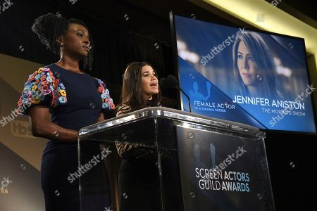 """Stock Photo of Danai Gurira, America Ferrera. Danai Gurira, left, and America Ferrera announce Jennifer Aniston as a nominee for outstanding performance by a female actor in a drama series for """"The Morning Show"""" at the 26th annual Screen Actors Guild Awards nominations at the Pacific Design Center, in West Hollywood, Calif. The show will be held on Sunday, Jan. 19, 2020, in Los Angeles"""