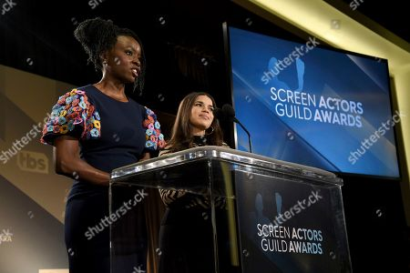 Danai Gurira, America Ferrera. Danai Gurira, left, and America Ferrera announce nominations for the 26th annual Screen Actors Guild Awards at the Pacific Design Center, in West Hollywood, Calif. The show will be held on Sunday, Jan. 19, 2020, in Los Angeles