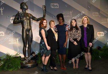 Stock Image of Elizabeth McLaughlin, Gabrielle Carteris, Danai Gurira, America Ferrera, JoBeth Williams. SAG Awards Committee Member Elizabeth McLaughlin, SAG-AFTRA President Gabrielle Carteris, Danai Gurira, America Ferrera and SAG Awards Committee Chair JoBeth Williams pose following the announcements of the nominations for the 26th annual Screen Actors Guild Awards at the Pacific Design Center, in West Hollywood, Calif. The show will be held on Sunday, Jan. 19, 2020, in Los Angeles