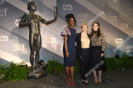 Gabrielle Carteris, Danai Gurira, America Ferrera. Danai Gurira, from left, SAG-AFTRA President Gabrielle Carteris and America Ferrera pose following the announcements of the nominations for the 26th annual Screen Actors Guild Awards at the Pacific Design Center, in West Hollywood, Calif. The show will be held on Sunday, Jan. 19, 2020, in Los Angeles