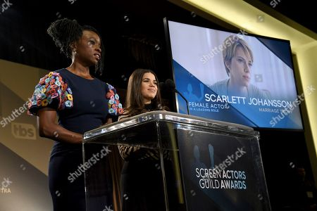 "Danai Gurira, America Ferrera. Danai Gurira, left, and America Ferrera announce Scarlett Johansson as a nominee for outstanding performance by a female actor in a leading role for ""Marriage Story"" at the 26th annual Screen Actors Guild Awards nominations announcement at the Pacific Design Center, in West Hollywood, Calif. The show will be held on Sunday, Jan. 19, 2020, in Los Angeles"