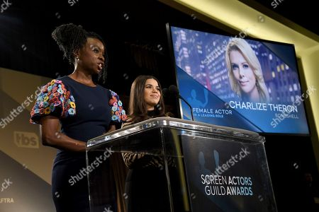 "Danai Gurira, America Ferrera. Danai Gurira, left, and America Ferrera announce Charlize Theron as a nominee for outstanding performance by a female actor in a leading role for ""Bombshell"" at the 26th annual Screen Actors Guild Awards nominations announcement at the Pacific Design Center, in West Hollywood, Calif. The show will be held on Sunday, Jan. 19, 2020, in Los Angeles"