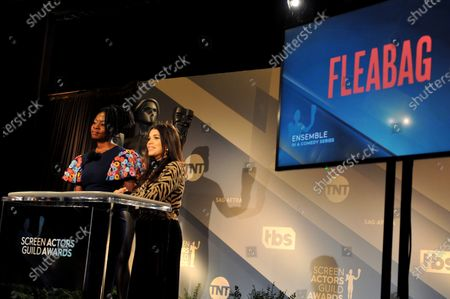 Danai Gurira (L) and US actress America Ferrera attend the nomination announcements for the 26th annual Screen Actors Guild Awards as TV show 'Fleabag' is nominated at the Pacific Design Center in West Hollywood, California, USA, 11 December 2019. The 26th Annual SAG Awards ceremony will be held on 19 January 2020.