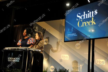 Danai Gurira (L) and US actress America Ferrera attend the nomination announcements for the 26th annual Screen Actors Guild Awards as TV show 'Schitts Creek' is nominated at the Pacific Design Center in West Hollywood, California, USA, 11 December 2019. The 26th Annual SAG Awards ceremony will be held on 19 January 2020.