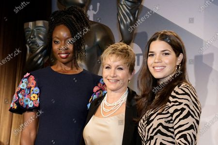 Danai Gurira, SAG president Gabrielle Carteris and US actress America Ferrera attend the nomination announcements for the 26th annual Screen Actors Guild Awards at the Pacific Design Center in West Hollywood, California, USA, 11 December 2019. The 26th Annual SAG Awards ceremony will be held on 19 January 2020.