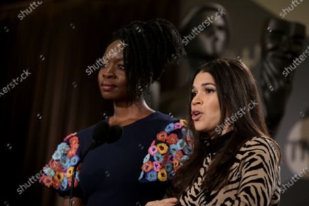 Danai Gurira (L) and US actress America Ferrera attend the nomination announcements for the 26th annual Screen Actors Guild Awards at the Pacific Design Center in West Hollywood, California, USA, 11 December 2019. The 26th Annual SAG Awards ceremony will be held on 19 January 2020.