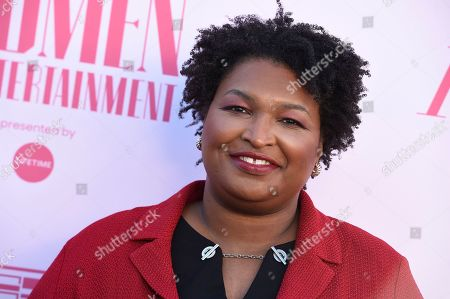 Stacey Abrams arrives at The Hollywood Reporter's Women in Entertainment Breakfast Gala, in Los Angeles