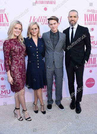 Ava Phillippe, Reese Witherspoon, Deacon Phillippe, Jim Toth. Ava Phillippe, from left, Reese Witherspoon, Deacon Phillippe and Jim Toth arrive at The Hollywood Reporter's Women in Entertainment Breakfast Gala, in Los Angeles